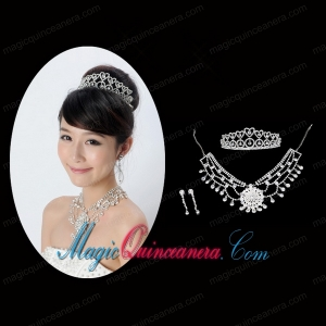 Elegant Alloy With Rhinestone Crystal Ladies Jewelry Sets