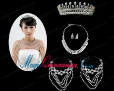 Imitation Pearl Necklace Earing and Tiara Jewelry Sets