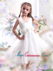 2016 Spring Pretty Halter Top White Mini Length Little Girl Pageant Dresses with Hand Made Flower