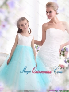 2016 Spring Pretty White and Baby Blue Scoop Little Girl Pageant Dresses