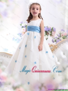 2016 Summer Cheap White Scoop Little Girl Pageant Dresses with Baby Blue Waistband and Appliques