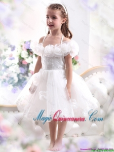 2016 Summer Discount White Halter Top Little Girl Pageant Dresses with Hand Made Flower