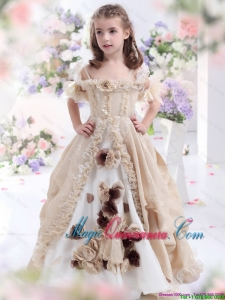 2016 Winter Perfect Champagne Spaghetti Straps Little Girl Pageant Dresses with Hand Made Flowers and Ruffles