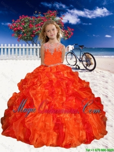 2016 Winter Perfect Appliques Little Girl Pageant Dress in Orange Red with Beaded Decorate
