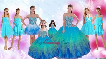 Perfect Beaded Multi Color Quinceanera Dresses and Aqua Blue Dama Dresses and Cute Straps Litter Girl Dresses and Sexy Short Prom Dresses