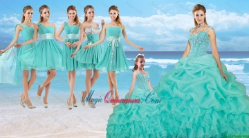 Perfect Beaded Quinceanera Dresses and Cheap Short Dama Dresses and New Turquoise Litter Girl Dresses