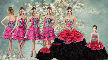 Perfect Zebra and Sash Quinceanera Dresses and Ruffled Layers Dama Dresses and Cute Strapless Litter Girl Dresses
