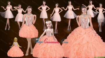 Sturning Straps and Beaded Quinceanera Dresses and Baby Pink Short Dama Dresses and Cute Orange Litter Girl Dresses and Feminine Mini Length Prom Dresses