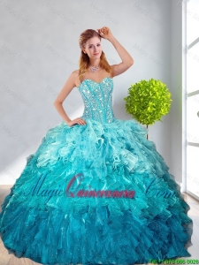 2016 Modest Multi Color Quinceanera Gown with Ruffles and Beading