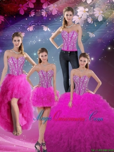 Detachable Sweetheart Ball Gown Beaded and Ruffles Quinceanera Dresses in Fuchsia for 2016