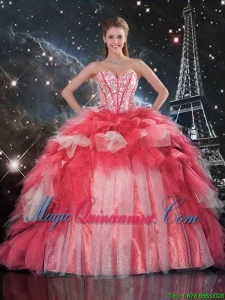 Exclusive Beaded Ball Gown Quinceanera Dresses with Brush Train