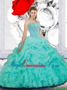 2016 Spring Beaded Ball Gown Straps Sweet 16 Dresses in Turquoise