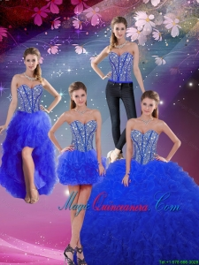 2016 Sweetheart Beaded and Ruffles Royal Blue Detachable Quinceanera Dresses