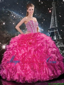 Cheap Floor Length Quinceanera Gowns with Beading and Ruffles
