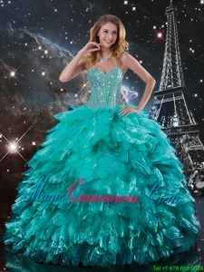 Classical Brush Train Turquoise Quinceanera Dresses with Beading and Ruffles for 2016
