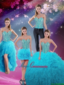 Detachable Sweetheart Beaded and Ruffles Sweet 16 Dresses in Aqua Blue for 2016