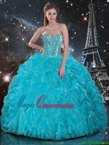 Discount Aqua Blue Sweetheart Quinceanera Gowns with Beading and Ruffles