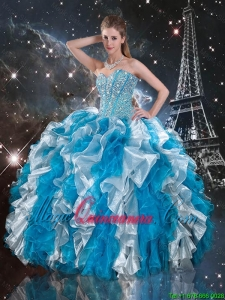 Luxurious Beaded White and Blue Sweet 16 Gowns with Ruffles
