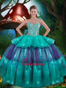 Modest Sweetheart Beaded Quinceanera Dresses with Ruching for 2016