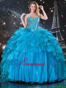 Pretty Ball Gown Beaded Detachable Quinceanera Gowns in Blue