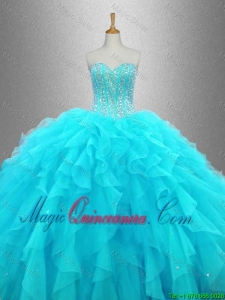 2016 Elegant Beaded Sweetheart Quinceanera Gowns in Aqua Blue