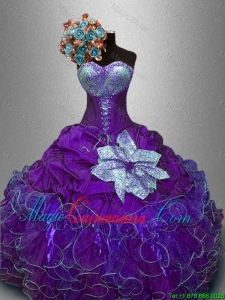 2016 New Arrivals Sequined Purple Sweet 16 Gowns with Ruffles