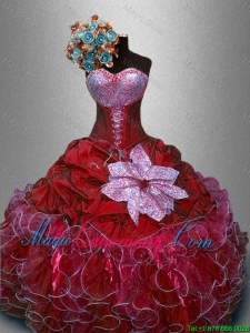 Fashionable Sweetheart Quinceanera Gowns in Wine Red for 2016