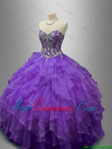 2016 New Style Purple Sweet 16 Gowns with Beading and Ruffles