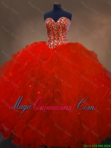 2016 Pretty Red Sweetheart Quinceanera Gowns with Ruffles and Beading