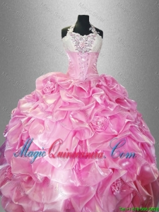 Perfect Halter Top Quinceanera Dresses with Pick Ups and Hand Made Flowers