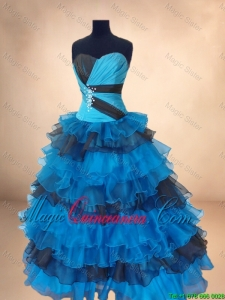 2016 New Arrivals Beaded Multi Color Quinceanera Gowns with Ruffled Layers