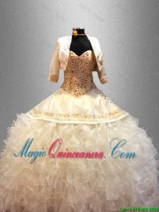 2016 Popular Sweetheart Quinceanera Dresses with Beading and Ruffles
