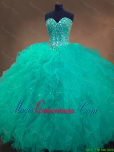 Cheap Sweetheart Ball Gown Sweet 16 Dresses in Turquoise for 2016