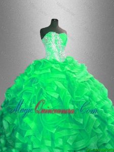Classical Ball Gown Sweet 16 Dresses with Beading and Ruffles for 2016
