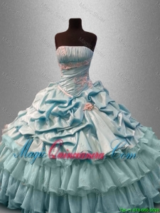 Classical Strapless Quinceanera Dresses with Pick Ups and Beading for 2016