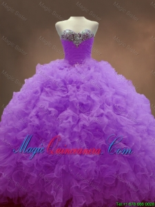 Exclusive Sweetheart Lilac Quinceanera Dresses with Beading and Ruffles for 2016