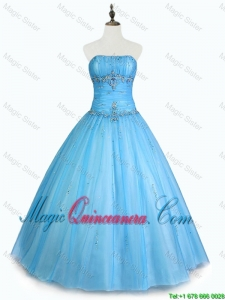 Simple Strapless Beaded Quinceanera Dresses with Floor Length for 2016