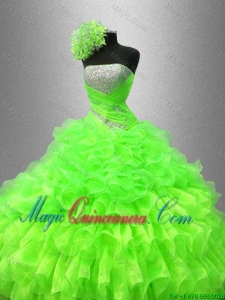 2016 Best Selling Strapless Quinceanera Gowns in Spring Green