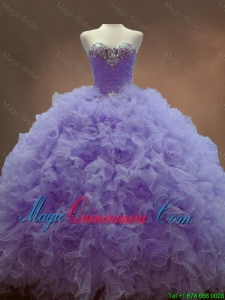 2016 Classical Beaded Sweetheart Lavender Sweet 16 Gowns with Ball Gowns