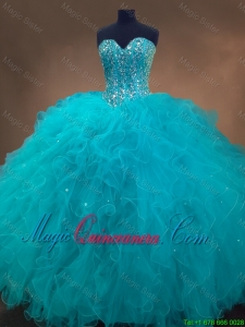 2016 Elegant Beaded and Ruffles Quinceanera Gowns in Aqua Blue