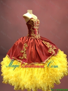 Beautiful Wine Red and Yellow Sweet 16 Dresses with Appliques and Ruffles