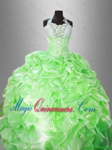 Luxurious Halter Top Pick Ups Quinceanera Gowns in Spring Green