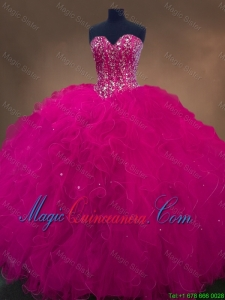Luxurious Sweetheart Beaded Quinceanera Dresses in Hot Pink for 2016
