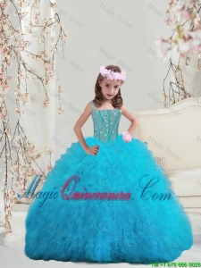 2015 Winter Popular Beaded and Ruffles Spaghetti Little Girl Pageant Dresses in Turquoise