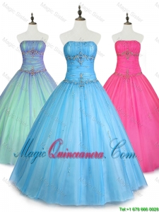 2016 Custom Made Strapless Ball Gown Sweet 16 Dresses with Beading