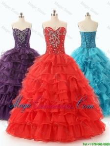 Custom Made 2016 Ball Gown Sweet 16 Dresses with Ruffled Layers