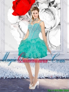 Sexy Ball Gown Beaded Dama Dresses with Straps in Turquoise