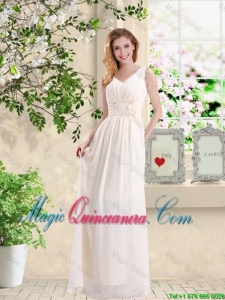Beautiful V Neck Lace Up Dama Dresses with Hand Made Flowers