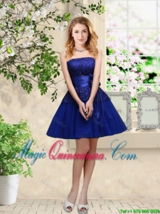 Popular Hand Made Flowers Royal Blue Dama Dresses with Appliques
