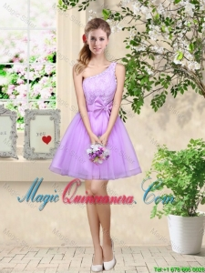Popular A Line One Shoulder Laced Bridesmaid Dresses in Lavender